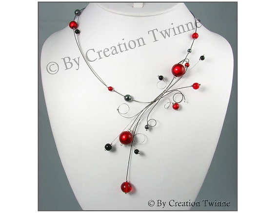 red black necklace,bridesmaids gift, statement necklace, wedding jewel, gift for her, swirls design,illusion necklace, contemporary jewelry,