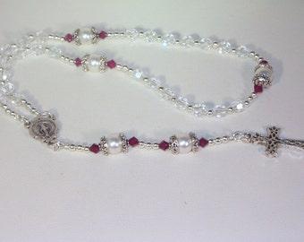 Swarovski Crystal & Pearl Rosary - Anglican, Made to Order - Any Colors