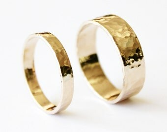 Couple's Ring Set - Hammered 14K Gold Filled Rings - Wedding Bands - Promise Ring - Men's - Women's - Thick Gold - Textured - Matching