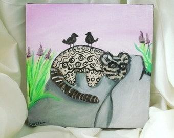 Cuddle Beast sunning itself fine art painting