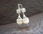 Nacre / Earrings dangle white ivory, pearl, silvery -Classical spirit, romantic, elegant, spring, smart, shabby, mother gift, wedding