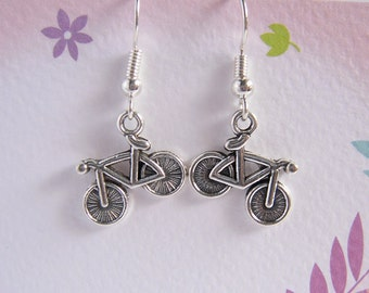Bicycle Earring, Antiqued Silver Bike - Clearance Sale