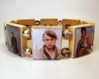 SKYWALKER - THE FORCE Bracelet / Star Wars Jewelry / Luke / Upcycled Scrabble Art / Unusual Gifts