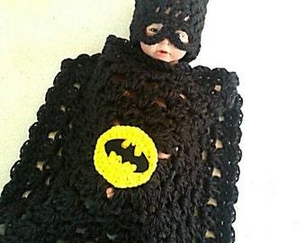Batman Baby handmade crochet Set Hat and blanket 0 to 12months