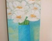 RESERVED for K- Original art - Flower art - White poppies & Black Eyed Susans - 3 paintings