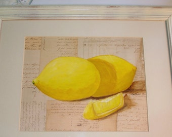 LEMON Painting - Yellow Lemons - Framed and Matted - Original Acrylic art on Paper- Upcycled and Distressed frame-