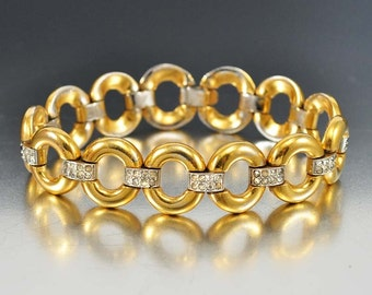 Art Deco Bracelet, Gold Ring Rhinestone Bracelet, Vintage 1920s Wedding Jewelry, Antique Jewelry, Rhinestone Jewelry, Art Deco