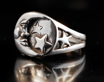 Moon Ring Star Ring Silver Moon and Star Ring Celestial Ring Celestial Jewelry Moon Jewelry Star Jewelry Silver Moon Silver Star Fashion
