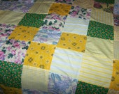 "Handmade Lap Quilt Top, Bright Yellow, Green, Pink Colors, 66"" Long x 40"" Wide, Perfect"