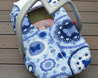Blue Baby Girl Butterfly Car Seat Cover for Cold Weather by Sophie Marie