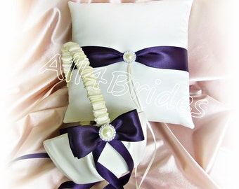 Lapis Deep Purple Weddings Basket and Pillow, Wedding Ring Pillow and Flower Girl Basket, Wedding Ceremony Decorations