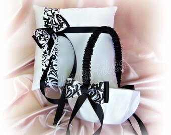 Damask Wedding Flower Girl Basket and Ring Bearer Pillow Set, Black and White Damask Wedding Accessories Decor