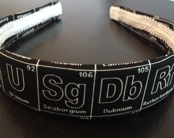 Periodic Table Headband, Elements Headband, Science Headband, Chemistry Headband, Geeky Headband