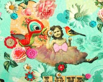 Cotton digital print fabric, digital fabric, blue floral fabric, kids fabric, ballerina fabric, animals fabric, Petite Ballerina turquoise