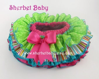 Four Ruffle All Around Ruffle Candy Shop Theme Sassy Pants Ruffle Panty Diaper Cover Bloomer Skirt
