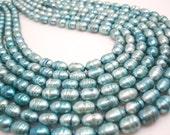 Aqua Blue Freshwater Pearls Beads, Potato Shape, Aqua Blue Pearls, SKU 4678
