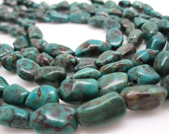 Turquoise Nugget, Turquoise Beads, Green Blue Turquoise, Pebbles, December Birthstone, SKU 4531A