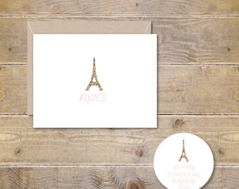 Merci Cards, Eiffel Tower Cards, Paris Cards, Paris Stationery, Paris Stationary, Thank You Cards, Merci, Gold Glitter, Blush Pink, Paris