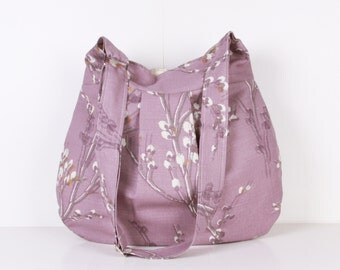 Messenger Bag / Everyday Bag / Shoulder Bag / Tote / Diaper Bag / ecru lilac flowers /