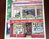 NYC Bookstore Book Store Book Lover New York Art Corner Bookstore 8x10 Fine Art Print, Painting by Gwen Meyerson