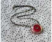 Roller Derby Bearing Necklace - hand cast resin pendant - hot pink bearing