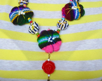 Frida's locket Necklace with Latin textiles and beads.  OOAK!
