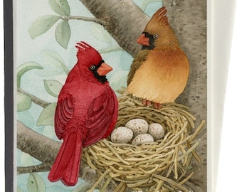 Cardinals in Bird Tree Greeting Card by Tracy Lizotte
