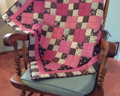 Baby Quilt in Brown and Pink