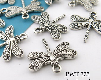 20mm Small Dragonfly Charm, Pewter, Antiqued Silver (PWT 375) 10 pcs BlueEchoBeads