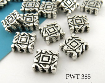 8mm Pewter Decorative Square Tile Beads Antique Silver (PWT 385) 12 pcs BlueEchoBeads