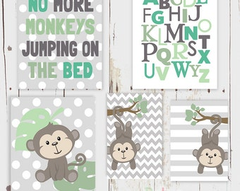 Monkey Alphabet Number Word Nursery Art Print Set Baby Boy Room Decor