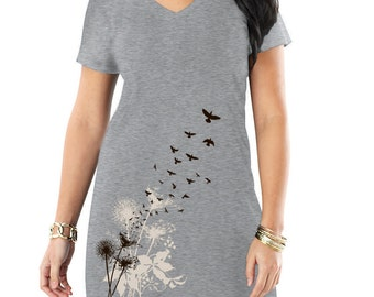 Dandelions, Birds in Flight Print, Women's Grey T-shirt Dress, PLUS size M, Dandelions, Gift, Artsy T-shirt