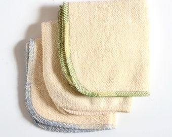 Hemp and Organic Cotton French Terry set of 3 Washcloth set 9 x 9 inches Green Trim by Aquarian Bath - Go green - ecofriendly
