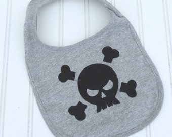 READY TO SHIP Skull and Cross Bones 100% cotton bib for baby and toddlers