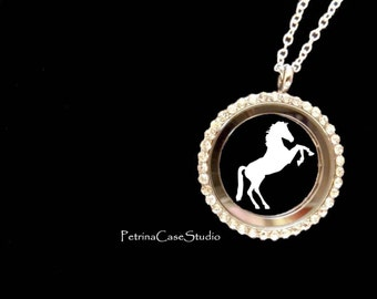 Horse Papercut in Glass Pendant Keepsake with chain necklace -Design 1332