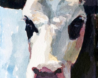 Cow painting Cow PRINT of original watercolor painting PRINT paper size is 8.5 x 11 cow art cow face