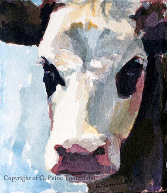 Cow painting cow print of original watercolor painting print for Cow painting print