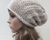 Hand knit hat - Oversized Chunky Wool Hat, slouchy hat in wheat