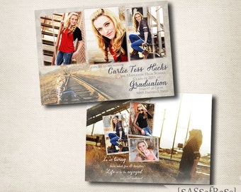The Carlie--5x7 ADOBE PHOTOSHOP Graduation Announcement Template for Photographers, DIY, Graduation Party Invite, Open House
