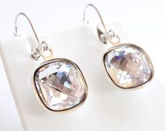 Clear crystal drop earrings - bridal earrings - bridesmaid Jewelry - clear earrings - square cut - Swarovski crystal