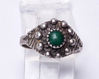 Early Navajo Satellite Ring - 30s Nouveau Green Turquoise Sterling - sz 8 Adjustable