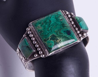 Turquoise Sterling Cuff Bracelet - Early Variscite - Whirling Logs