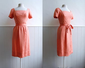 ON SALE - 1950's Suzy Perette Coral Pink Wiggle Dress