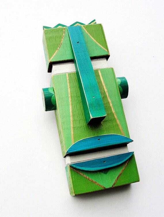 Idol Green - Original Mixed Media Wall Sculpture