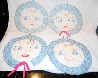 4- Vintage Dolly Dimple/ Kewpie/ Big Eyes  Cotton Hot pads