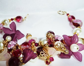 Burgundy,Cranberry,Ivory,and Gold plated Victoria Garden Chunky Charm Bracelet