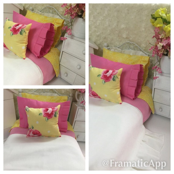 Summery pink and yellow american girl 9 piece doll bedding set - Pink and yellow comforter ...