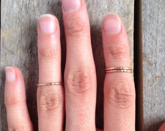 Single brass textured midi ring