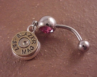 Belly Ring with 357 Magnum Brass Bullet Charm