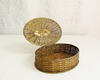 Woven Brass Basket Oval hinged Lid Treasure Box